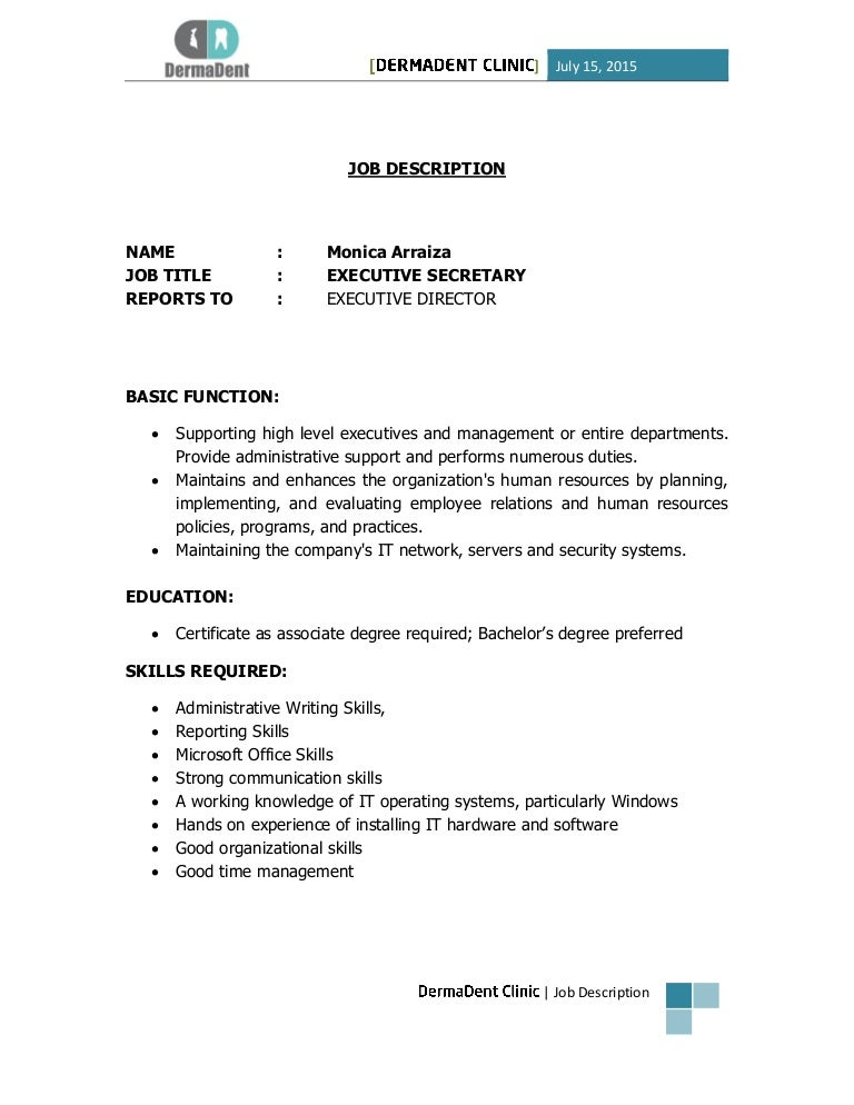 Monica Arraiza - Executive Secretary Job Description