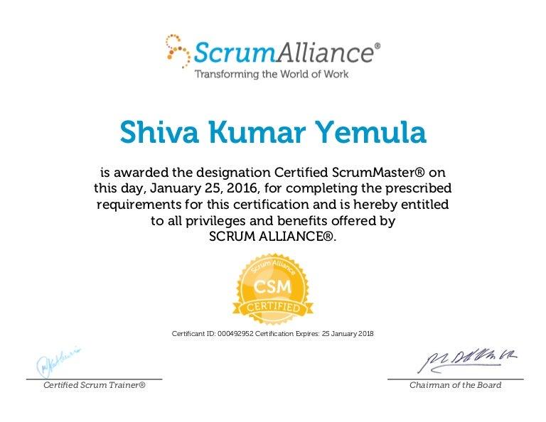 Shiva Kumar Yemula Scrumalliancecsmcertificate 1