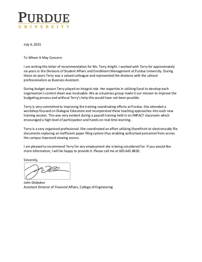 Terry Knights Recommendation Letter