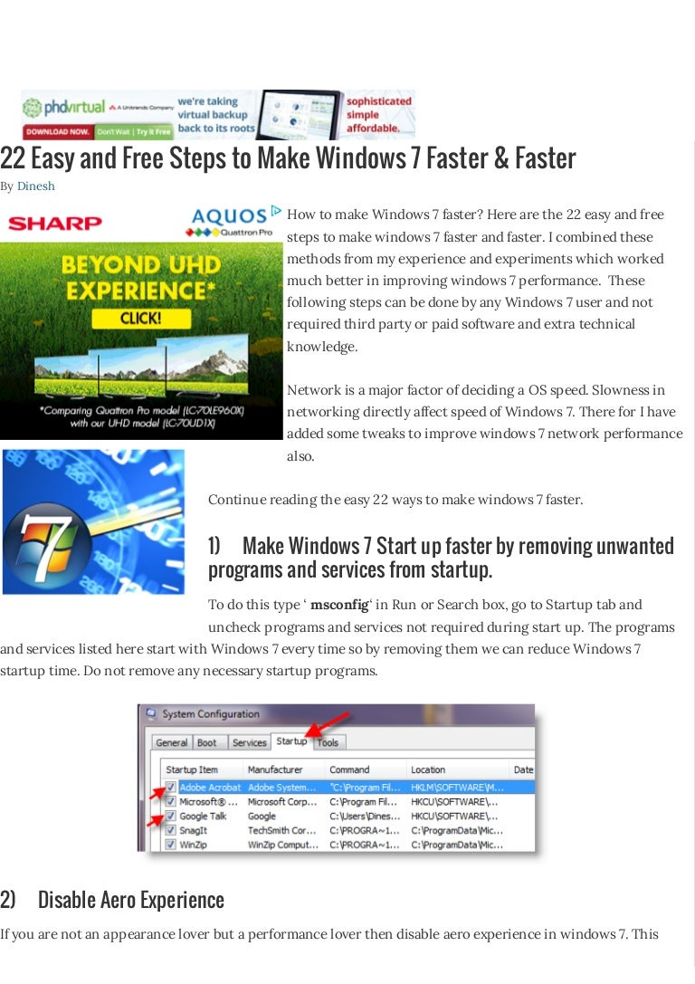 22 easy and free steps to make windows 7 faster & faster