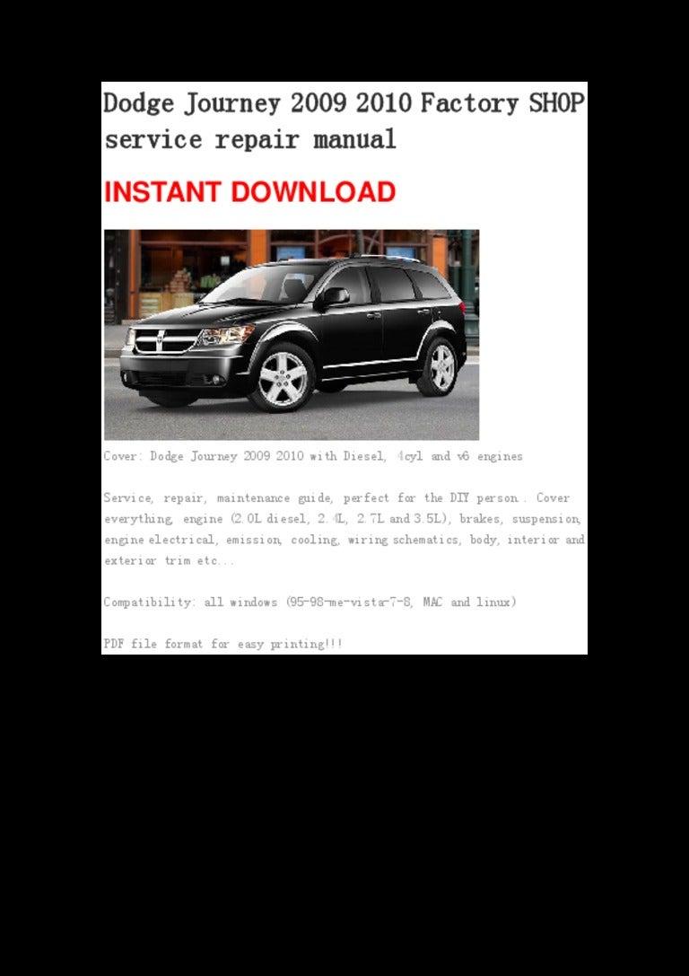 Dodge Journey 2009 2010 Repair Manual Wiring Schematic