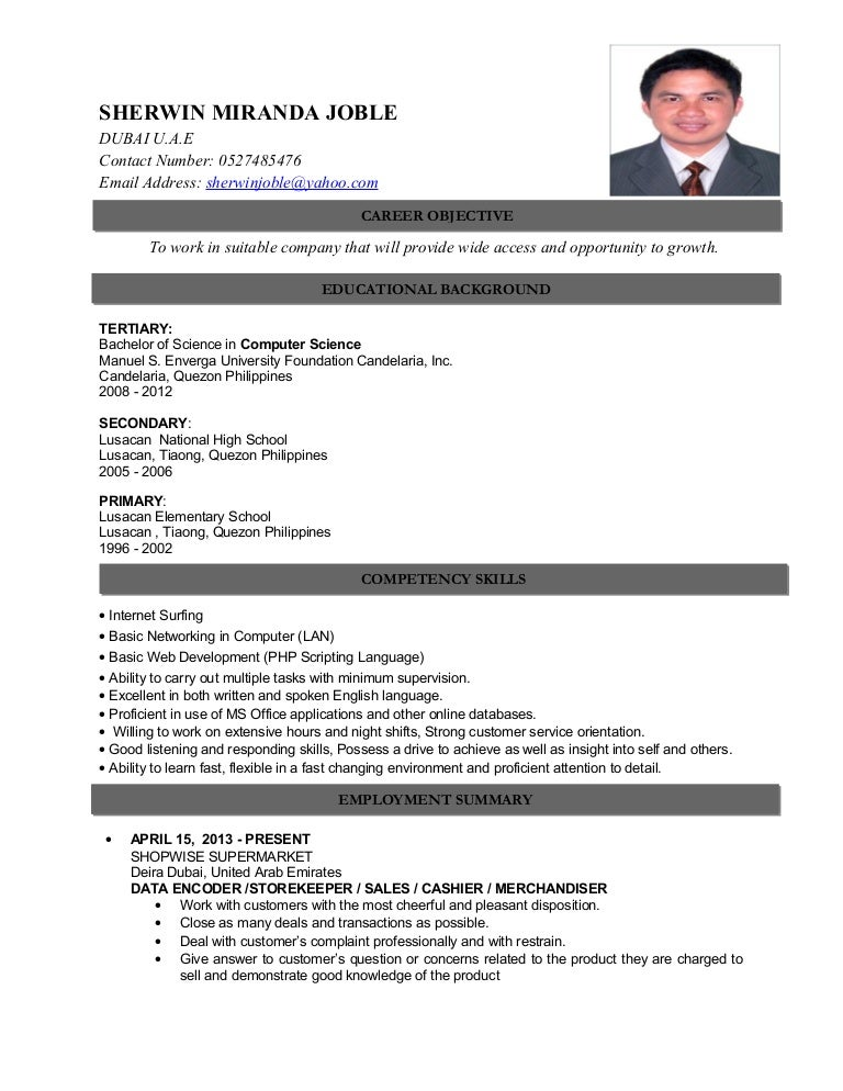 SHERWIN MIRANDA JOBLE CV