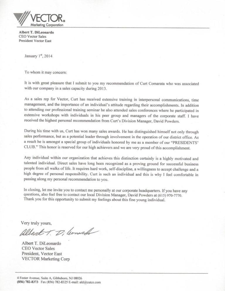 Zia Auto Sales >> My Cutco CEO Recommendation Letter