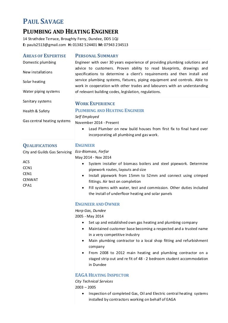 Paul Savage Plumbing And Heating Engineer Cv .