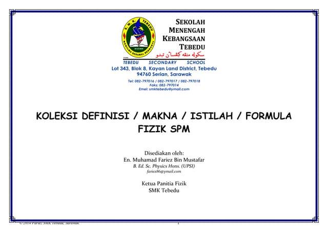 Koleksi Makna, Istilah Dan Formula Fizik SPM (Tingkatan 4 & 5)