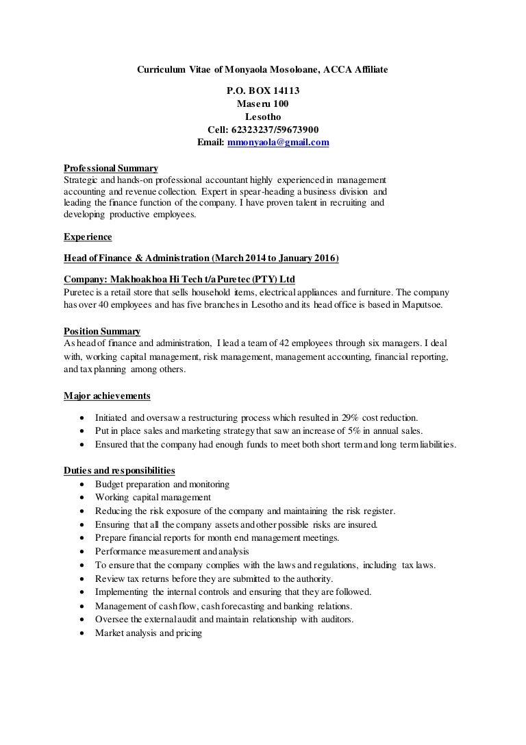 Monyaola Mosoloane Curriculum Vitae IDM