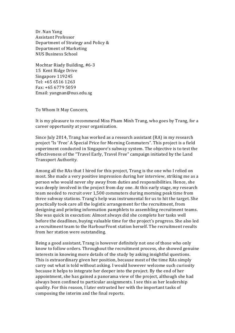 Nus business school research assistant recommendation letter pham m mitanshu Gallery