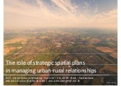 The role of strategic spatial plans in managing urban-rural relationships