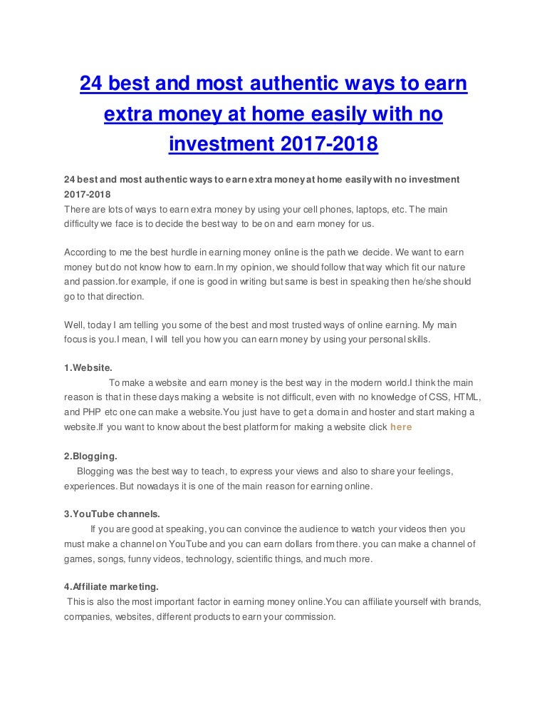 24 best and most authentic ways to earn extra money at home