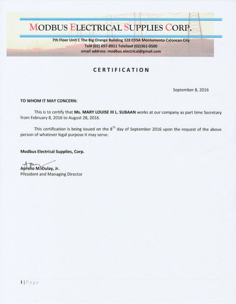 certificate employment secretary certification ms slideshare parttime certify concern whom upcoming