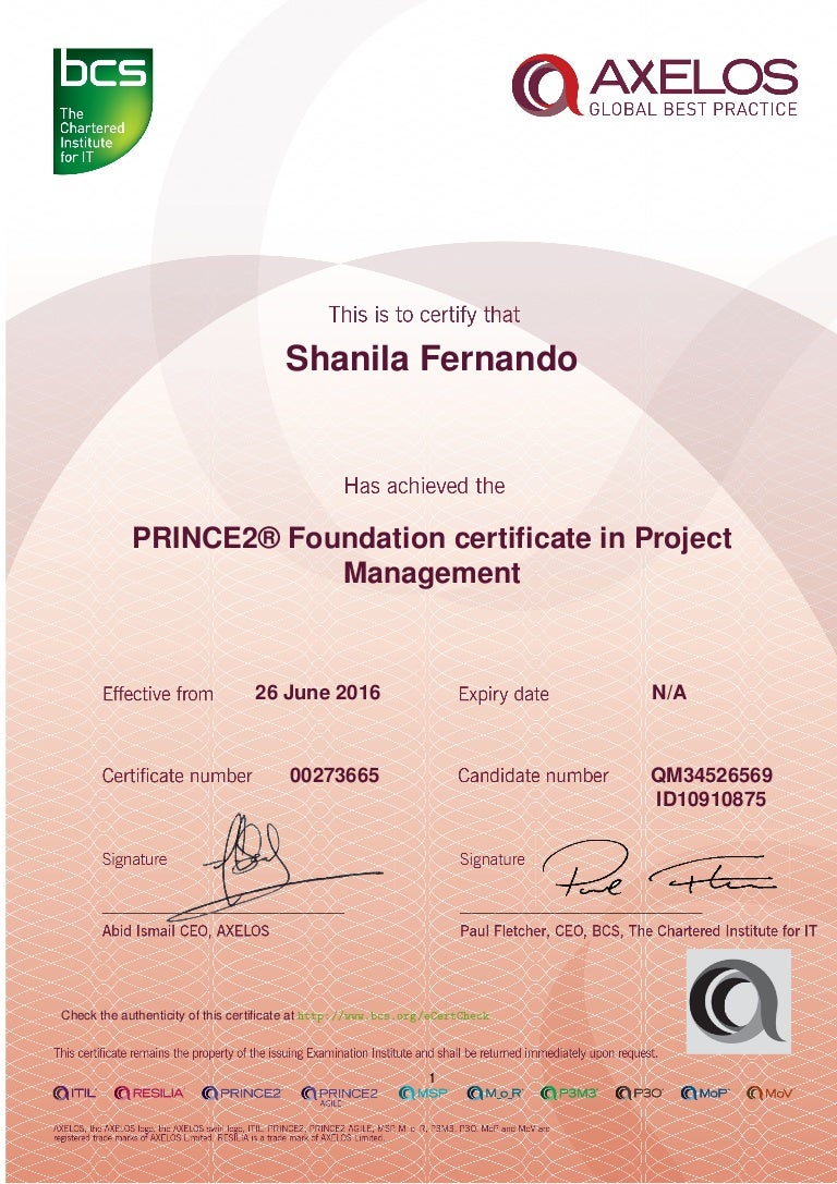 certificate prince2 practitioner foundation