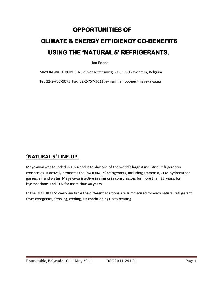 Opportunities of climate and energy efficiency co benefits