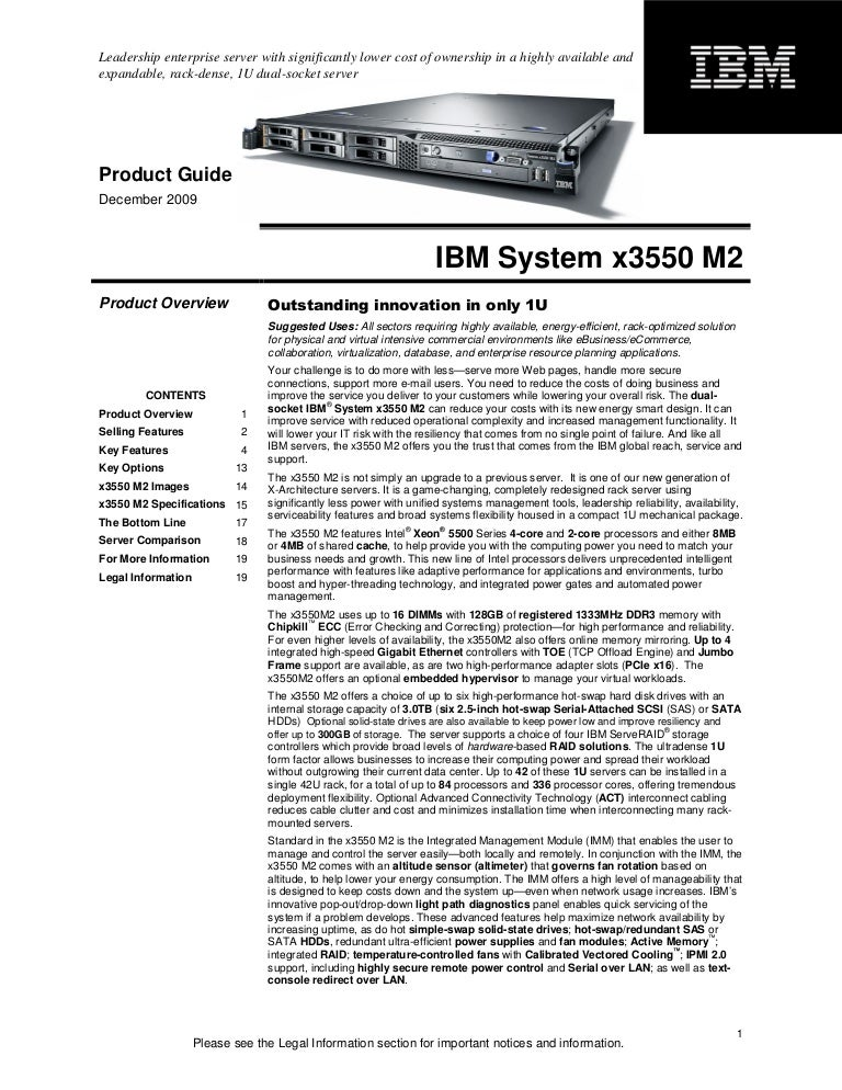 ibm system x3550 m2 product guide