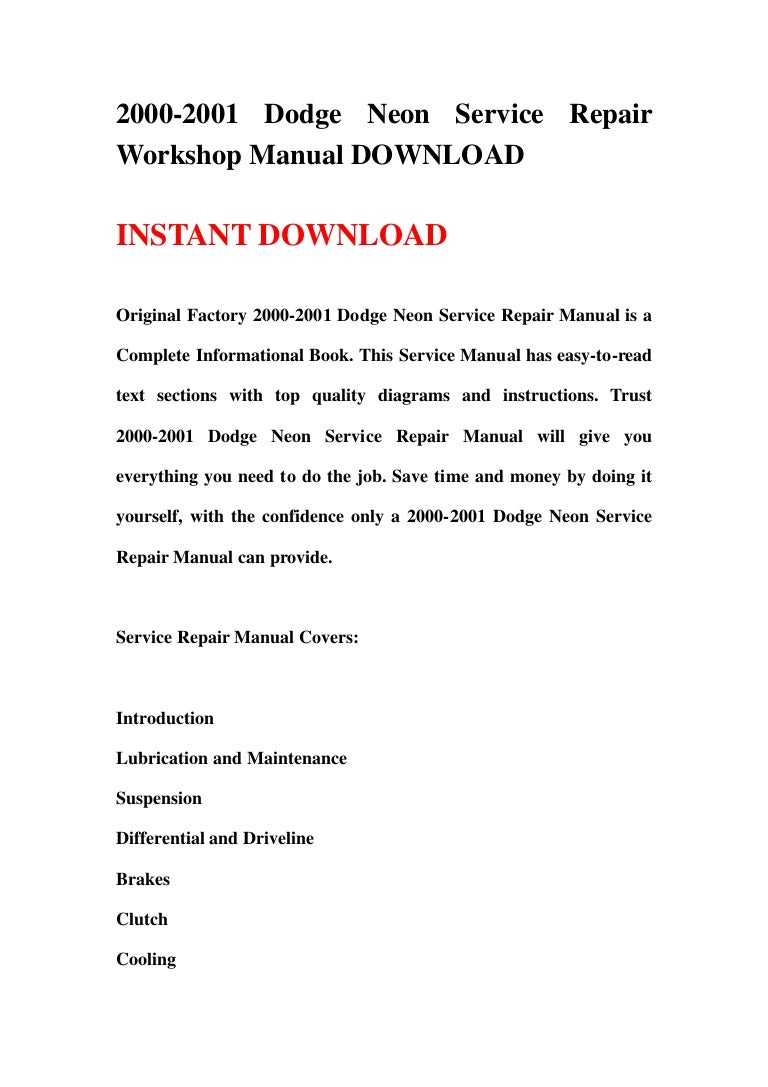 Wisconsinwa011401changeipco Free Dodge Neon Repair Manual