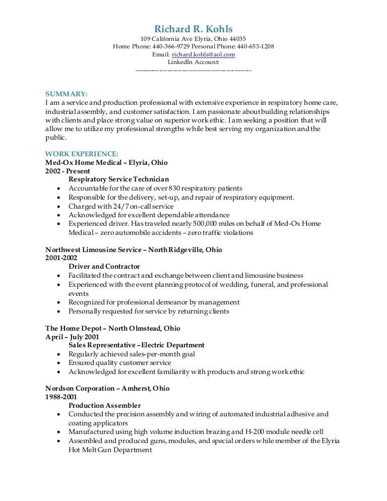 richard r kohls resume 2015