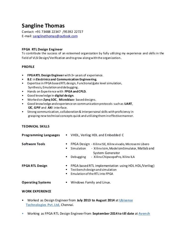 Stunning Rtl Design Engineer Resume Ideas - Simple resume Office .