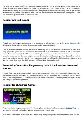 Best Complimentary Android Games - geometry dash 2.1 full free download