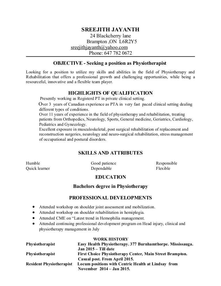 sreejith resume physiotherapist