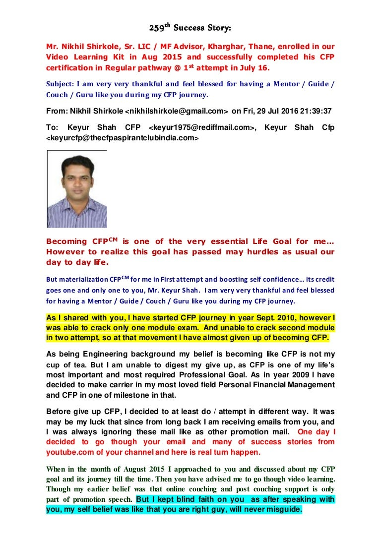 259th to 254th success stories of cfp aspirant club keyur shah cfp xflitez Choice Image