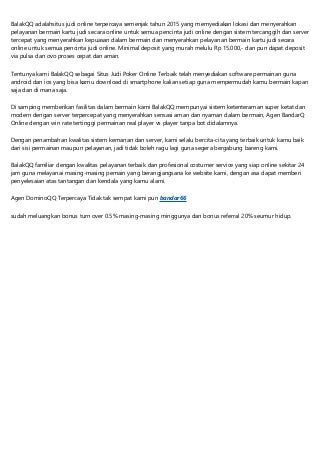 BalakQQ - Situs Judi QQ Online, BandarQQ, Domino QQ 99, Poker