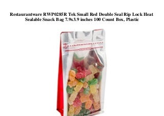 Restaurantware RWP0285R Tek Small Red Double Seal Rip Lock Heat Sealable Snack Bag 7.9x3.9 inches 100 Count Box Plastic
