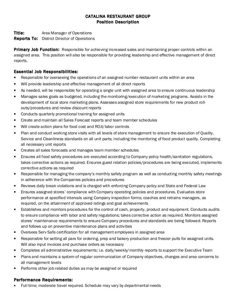 Job Description-Area Manager Of Operations 4 2 2014