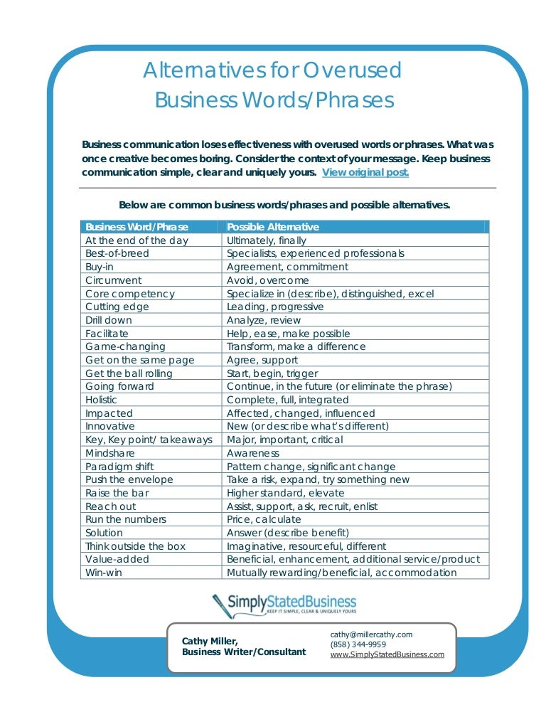 25 overused business words phrases