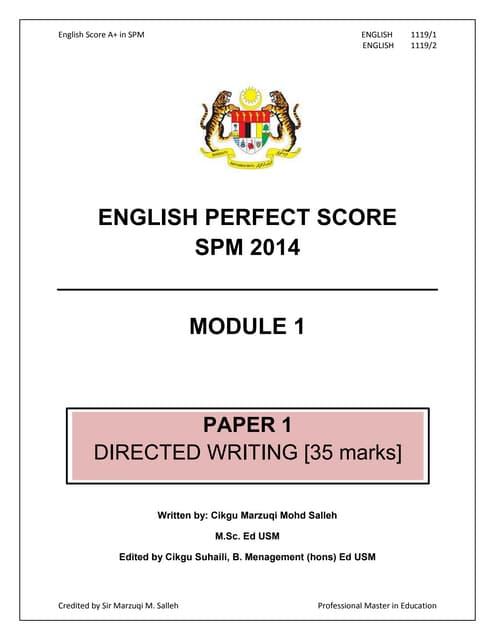English Perfect Score SPM