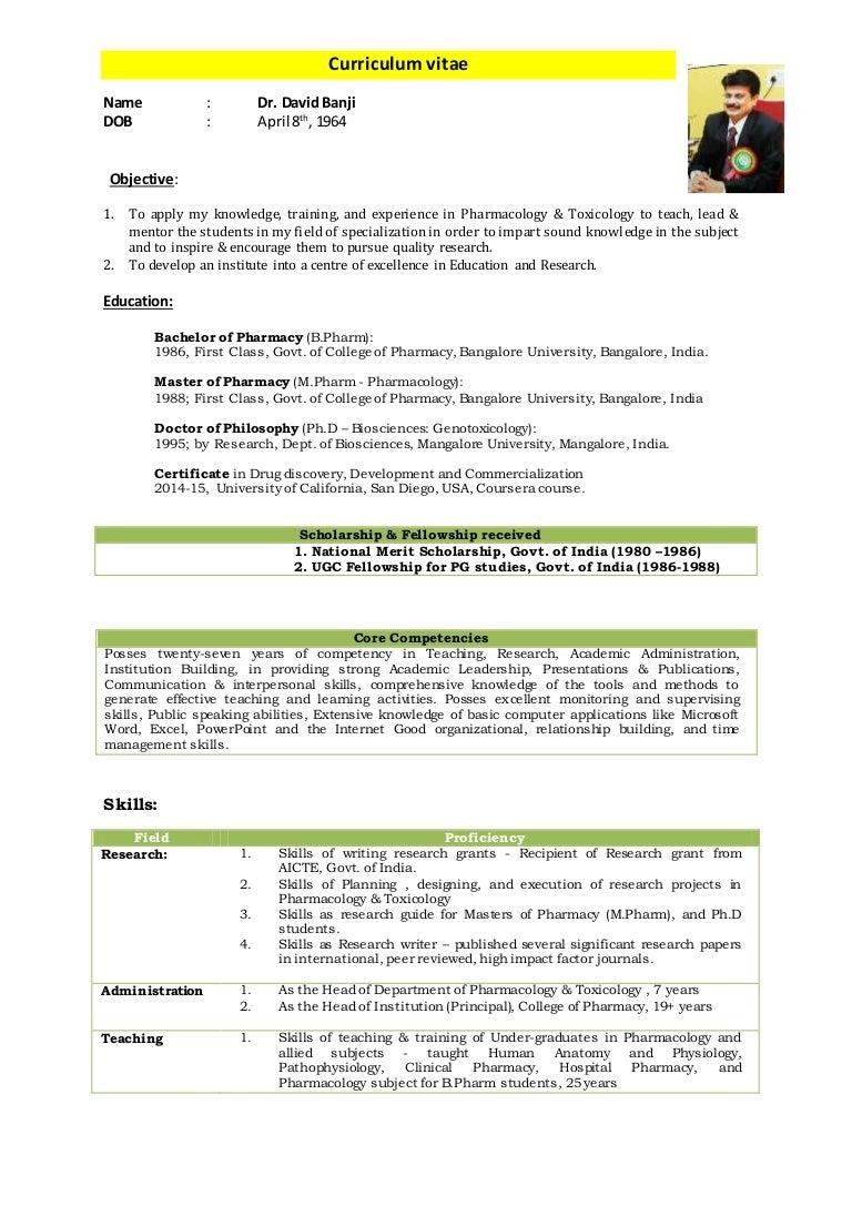 Dr. David Banji - CV