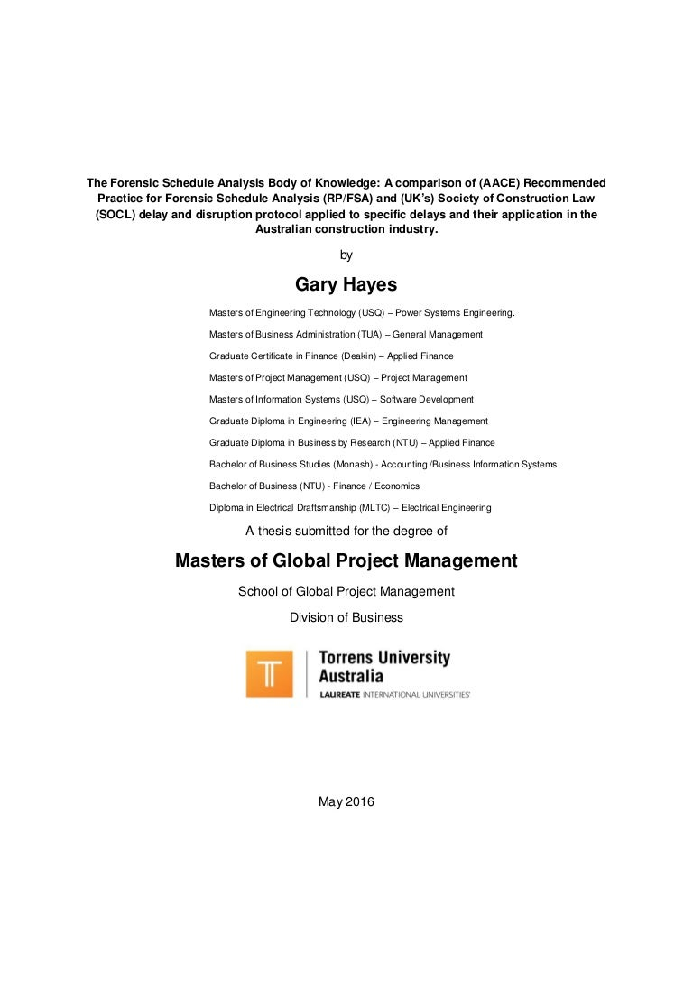 Project management masters thesis gary hayes 1betcityfo Image collections