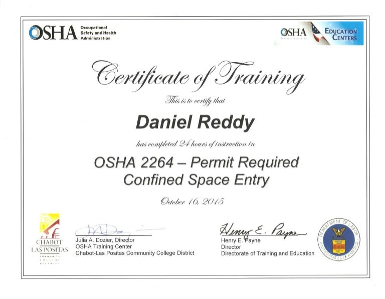 Cert Osha 2264 Permit Required Confined Space Entry 24 Hrs