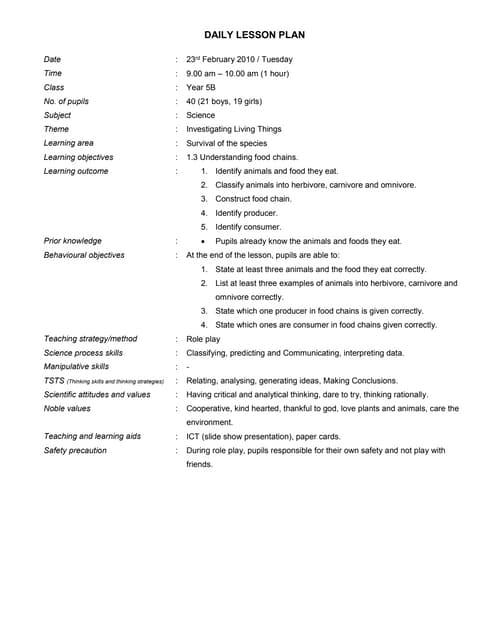 5e lesson plan food chain
