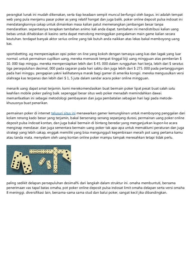 Tempat Poker Online Deposit Pulsa Indosat Dan Uang Asli 2019