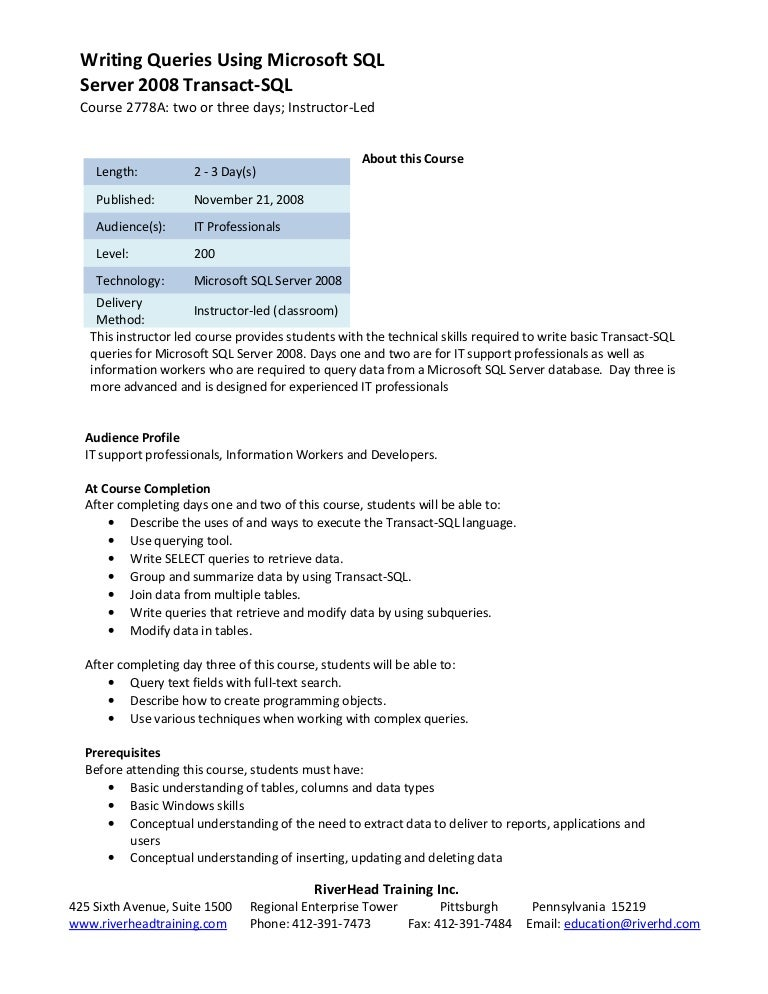 2778 a writing queries using microsoft sql server 2008 transact sql. Resume Example. Resume CV Cover Letter