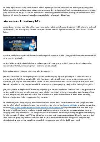 Lotere Klub Agen Togel Online Aman Serta Terpercaya