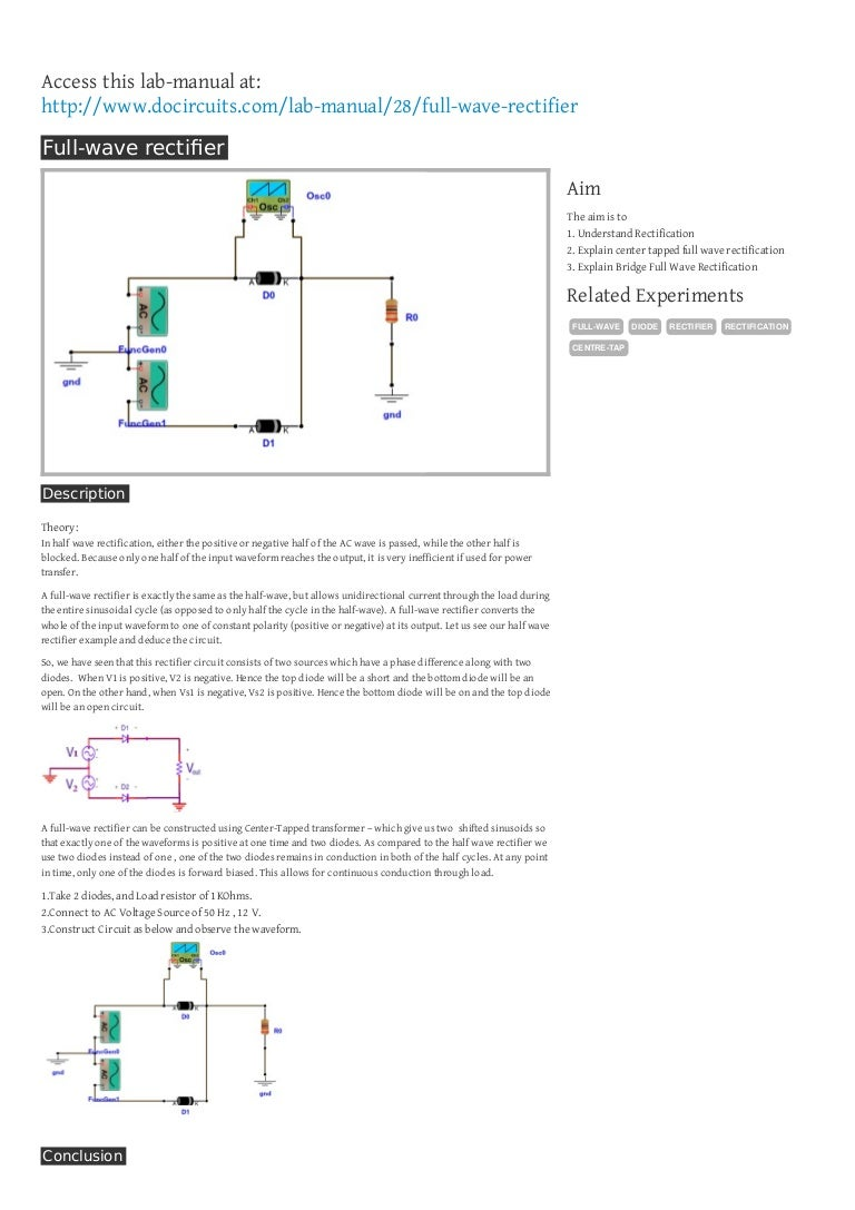 Full Wave Rectifier Phase Half On Circuit Schematic