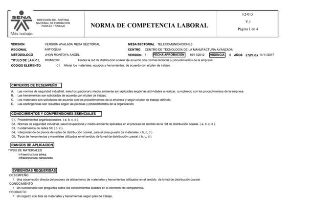 280102002   tender la red de distribución coaxial de acuerdo con normas técnicas y procedimientos de la empresa