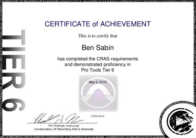 Pro Tools Tier 6 Certification