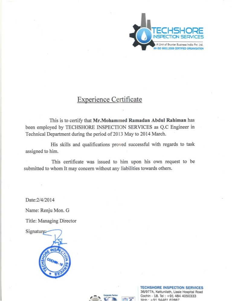Q.C Engineer Experience Certificate From Techshore