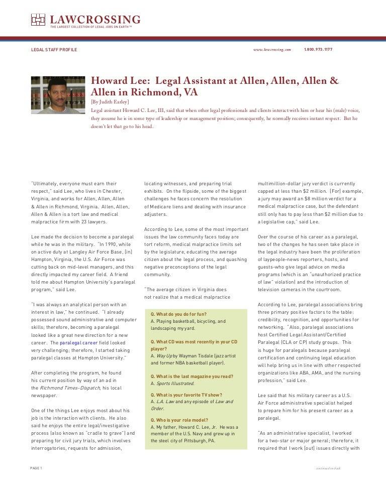 Howard Lee Legal Assistant At Allen Allen Allen Allen In Richmon
