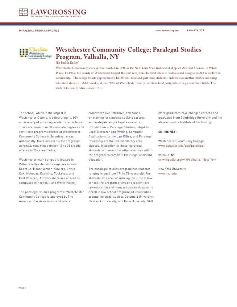 The Paralegal Studies Program At Westchester Community College In Val