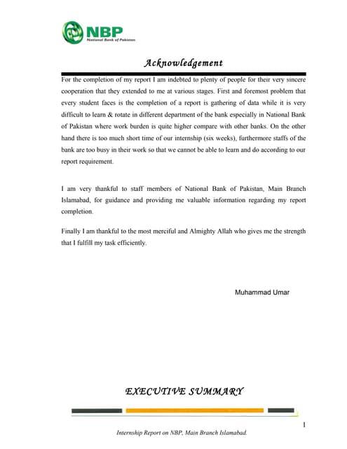 internship report on national bank of pakistan free download