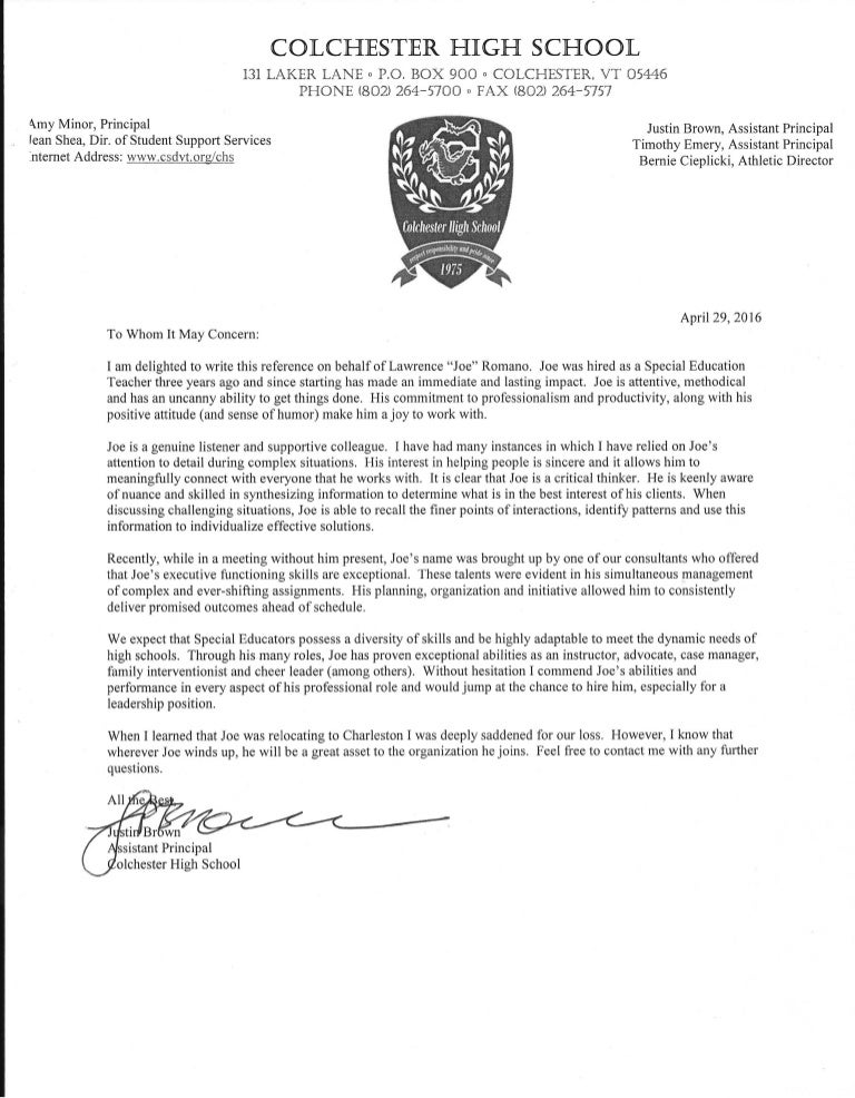 Letter of Recommendation   Justin Brown (Assistant Principal)