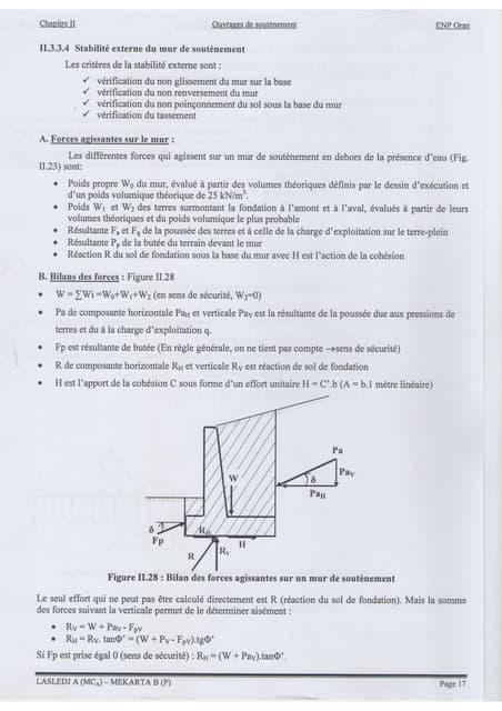 Exercice mur de soutenement pdf