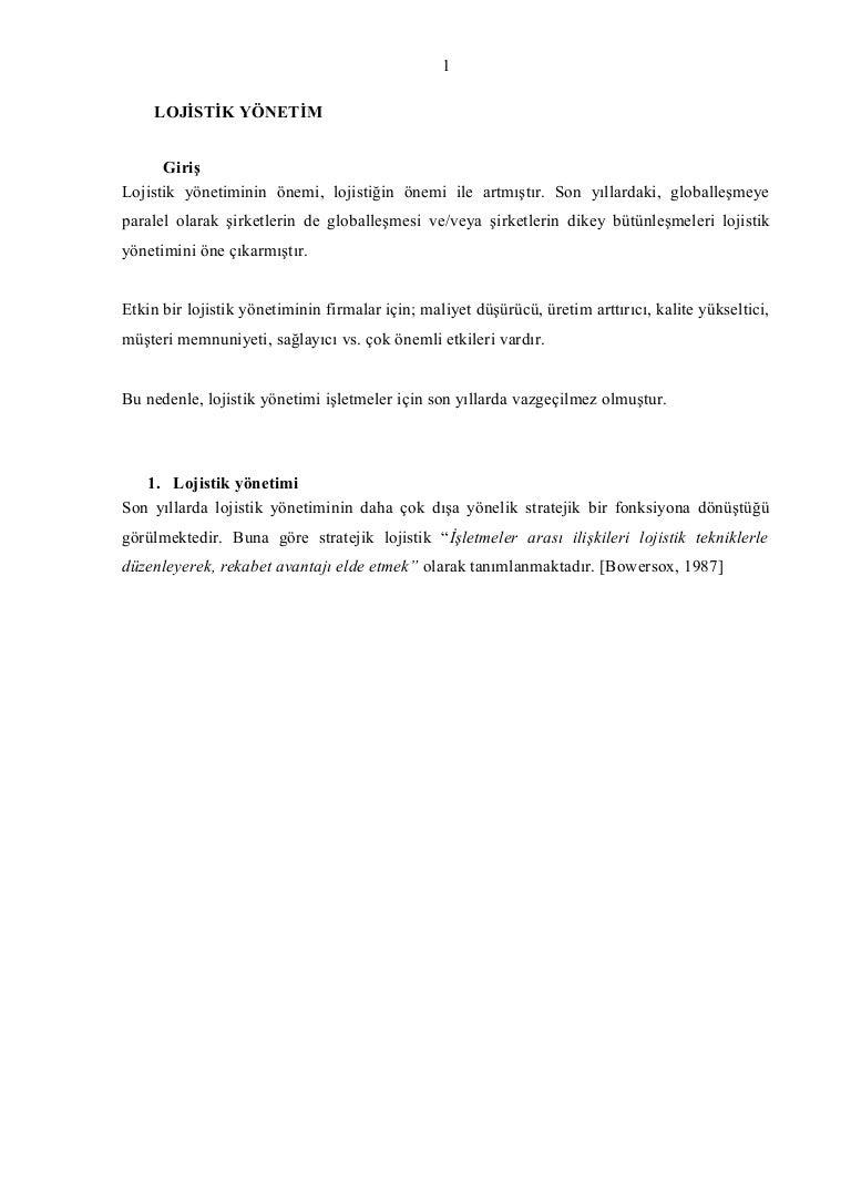Lojistik departmanı ve fonksiyonları