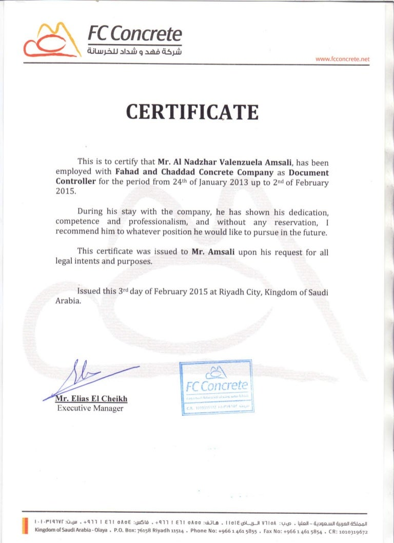 Fc Certificate Of Employee