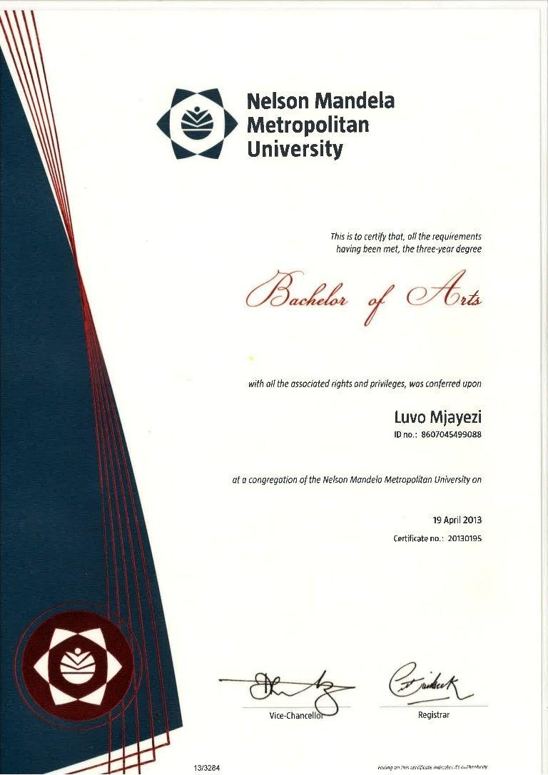 nmmu certificate
