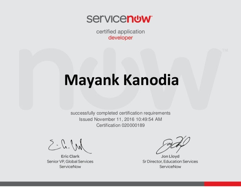 ServiceNow Certified Application Developer