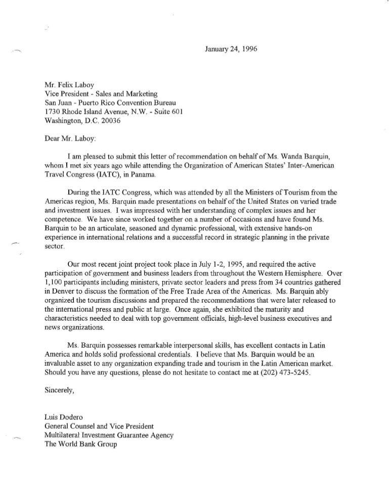 letter of recommendation the world bank group