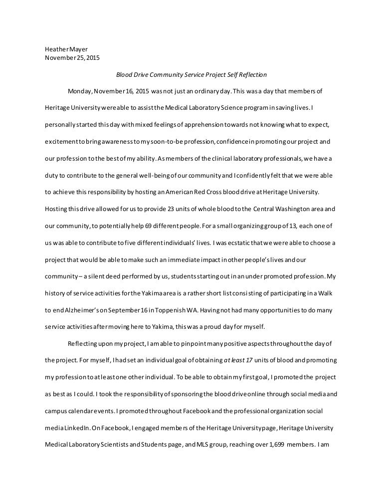 Community service reflection essay